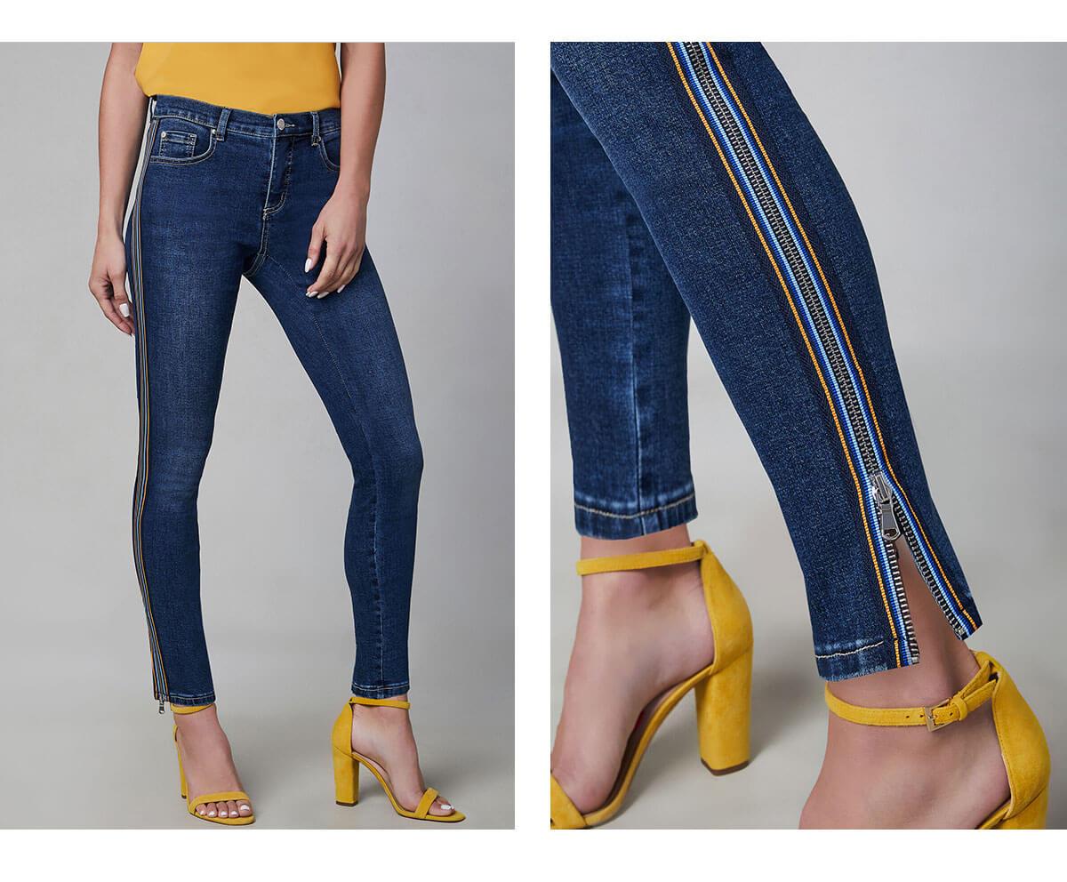 Contrast Trim Slim Leg Jeans